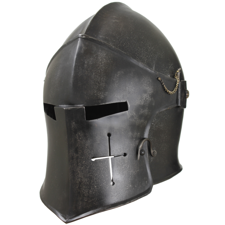 Epic Dark Visored Barbuta Helmet 1