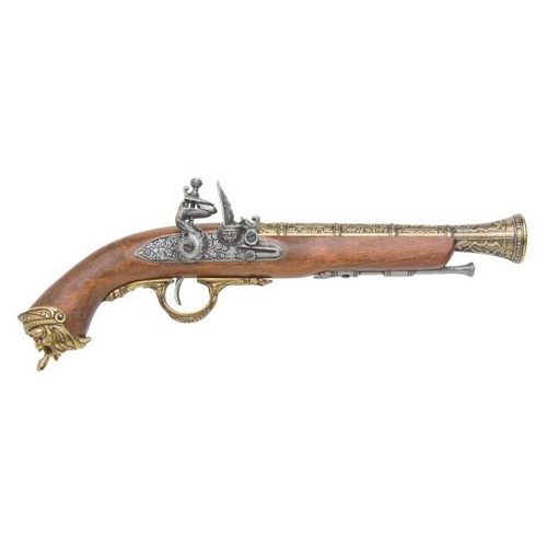 Pirate Replica Brass Flintlock Non-Firing Gun 1