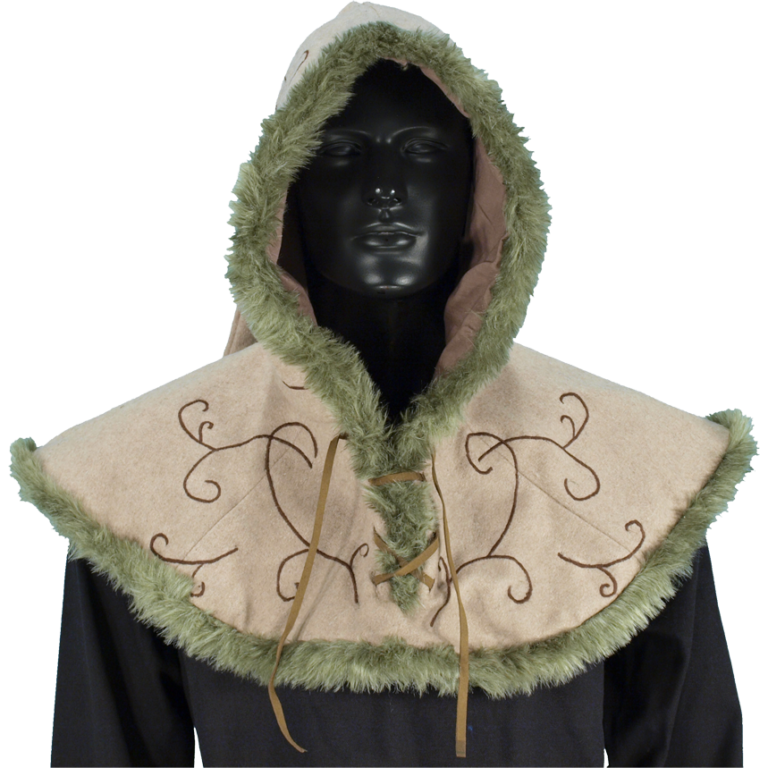 Embroidered Hood with Fur 1