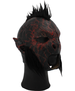 Red Carnal Orc Mask with Hair
