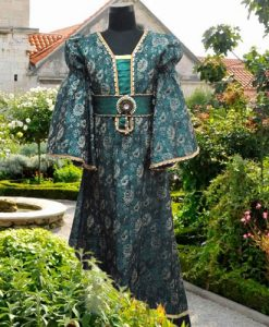 Girls Courtly Green Brocade Dress