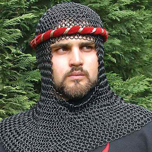 Mail Armor Coif, Blackened 1